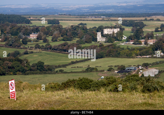 lulworth castle across gunnery range dorset england uk gb - Stock Image