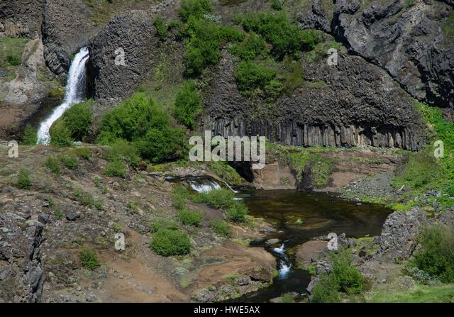 Gjain, waterfall, creek, basalt - Stock-Bilder