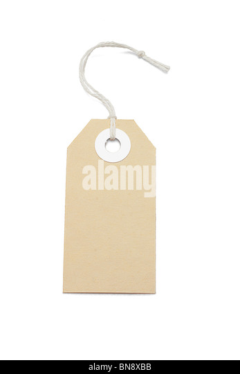Brown card price tag on white background - Stock Image