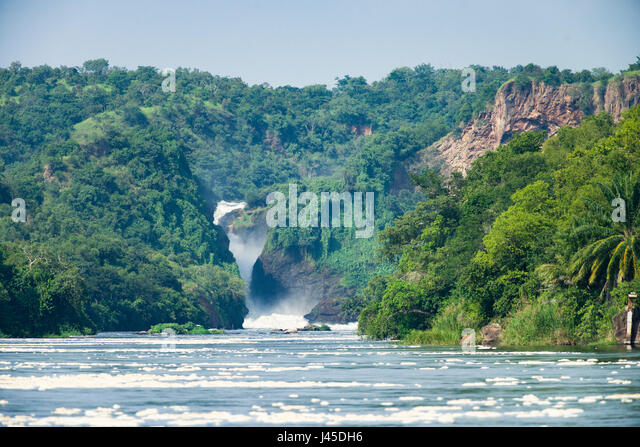 Murchison Falls and the Victoria Nile flowing over it, Uganda - Stock Image