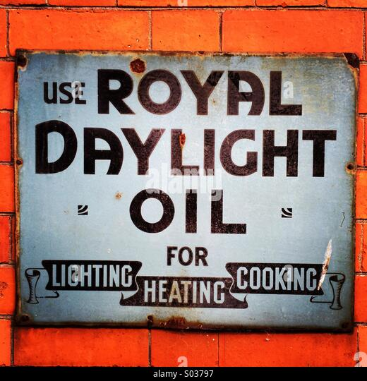 Royal Daylight Oil authentic wall advertisement. - Stock-Bilder