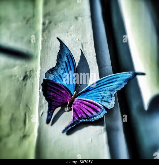 Butterfly sculpture decorating a wall - Stock Image
