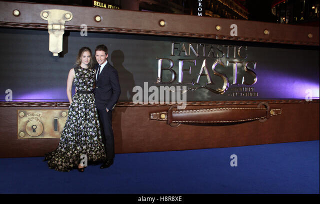 Eddie Redmayne and his wife Hannah Bagshawe arrive to the European premiere of the film 'Fantastic Beasts and - Stock-Bilder
