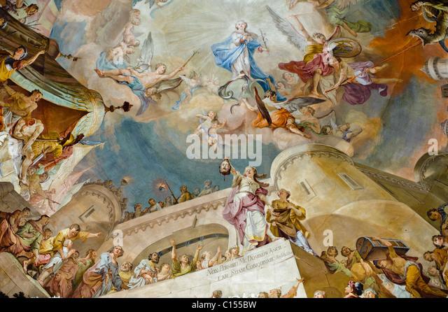 Ceiling mural by Matthaus Gunther at the Wilten Basilica Inssbruck, Austria - Stock-Bilder