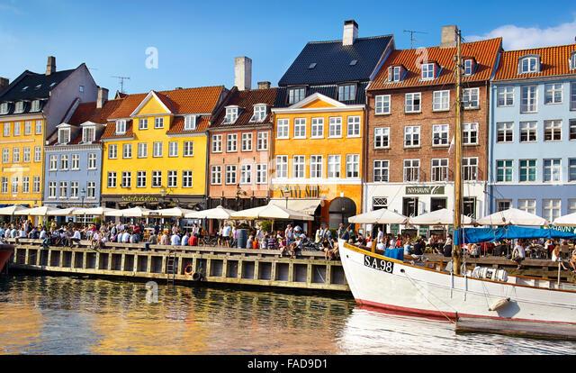 Nyhavn Canal, Copenhagen, Denmark - Stock Image