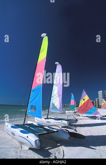 Sailboats on Beach Florida FL Marco Island Southwest Florida Naples area - Stock Image