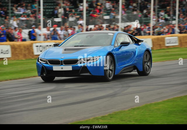 A hybrid BMW i8 at the Goodwood Festival of Speed. Racing drivers, celebrities and thousands of members of the public - Stock Image