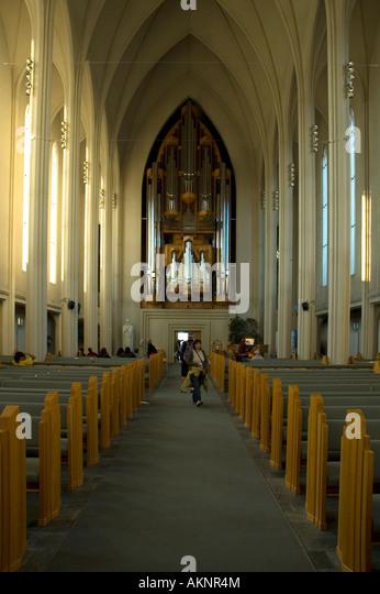 Inside the Hallgrímskirkja, the church of Hallgrímur, Reykjavik, Iceland - Stock Image