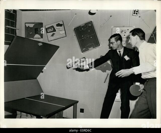 Mar. 03, 1959 - Play-Yourself Table Tennis: Manufacturers from more than 20 countries are showing their wares at - Stock Image