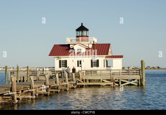 Roanoke Marshes Lighthouse replica, Manteo, North Carolina Outer Banks - Stock Image