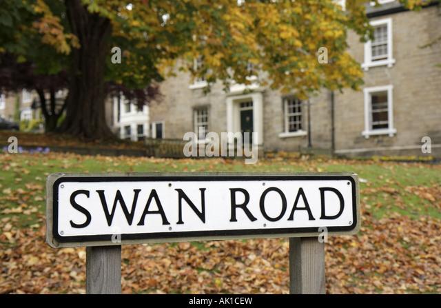 England UK Harrogate Swan Road sign - Stock Image