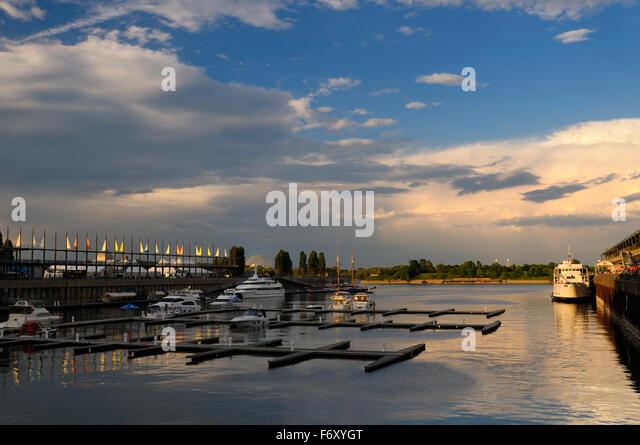 Jacques Cartier Basin marina Montreal Canada at sundown on a Sunday evening - Stock Image