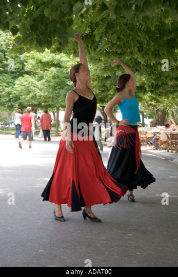 Greek dancers, Greek dance troop,  Kerkyra, Corfu town, Corfu, Europe, European, performing dancer dancing at a - Stock Image