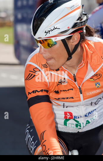 Before a stage start of the 2014 women's Tour of Britain - Stock Image