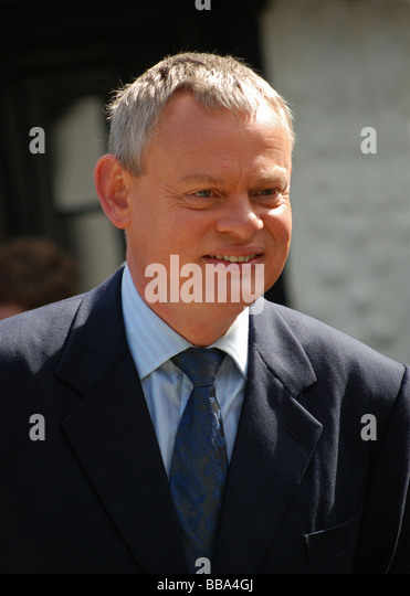 the british actor Martin Clunes photographed during a break in filming of the popular television series 'Doc - Stock Image