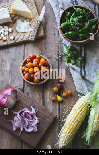 Summer vegetables with cheese - Stock Image