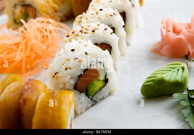 Close-up of sushi served in a tray - Stock Image