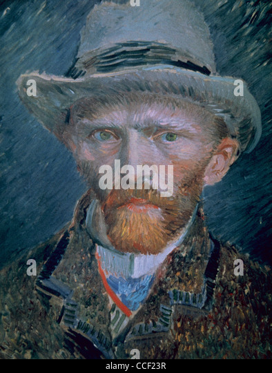 Vincent van Gogh (1853-1890). Self-portrait. Bust with brown jacket and gray hat. Oil on pasteboard. - Stock Image