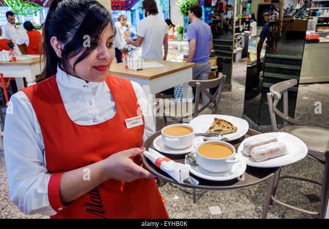 Madrid Spain Europe Spanish Recoletos Salamanca Calle de Serrano Pasteleria Mallorca Serrano restaurant gazpacho - Stock Image