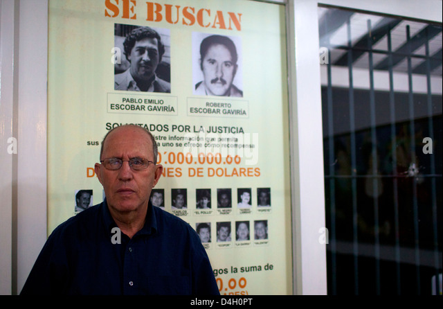Roberto Escobar in his home of Medellin, offering 2 millions American dollars for his own capture, Colombia, South - Stock Image