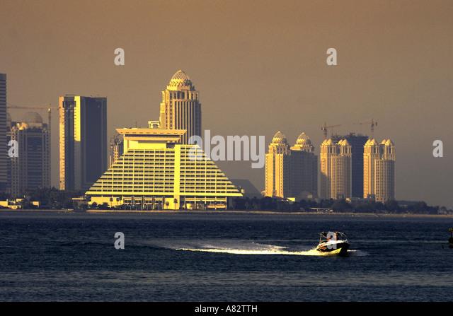 Qatar Doha bay skyline Sherton Hotel - Stock Image