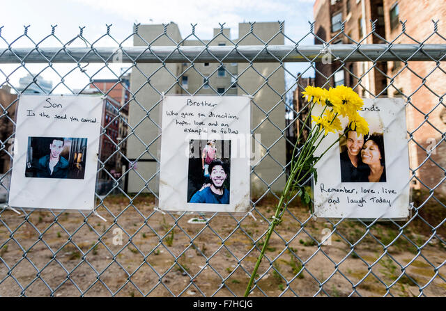 New York, NY - 6 November 2015 - Memorial for the two young men who died in the Second Avenue gas explosion. ©Stacy - Stock Image