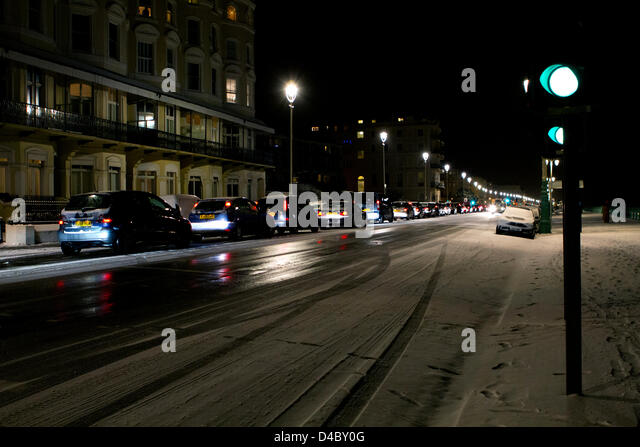 Brighton, Sussex, UK. 11th March 2013. Traffic heading out of the city comes to a standstill in a huge traffic jam - Stock Image