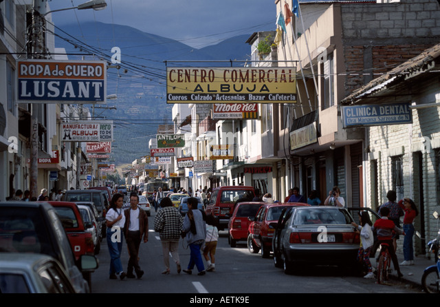 Ecuador Cotacachi street scene city known for leather goods business signs - Stock Image