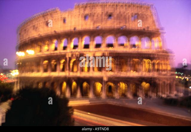 Rome Colloseum at dawn blurred  - Stock Image