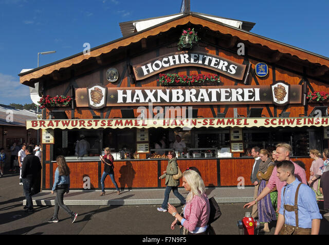 Munich Oktoberfest in Germany  Volksfest beer festival and travelling funfair,Hochreiters,Haxnbraterei - Stock Image