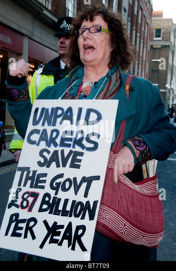 Demonstration about Government spending cuts Central London 20 October 2010 - Stock Image