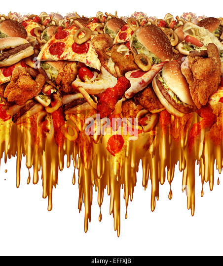 Greasy fast food concept with liquid driping grease as fried restaurant take out with onion rings burger and hot - Stock-Bilder