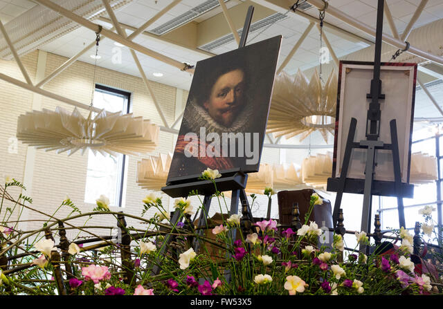 Lisse, South Holland, The Netherlands. 30 March 2016. Golden Age still lives in the Oranje Nassau Pavilion. Keukenhof, - Stock-Bilder