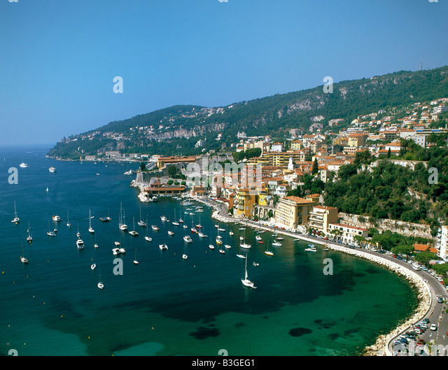 South France Villefranche sur Mer coastline beach - Stock Image