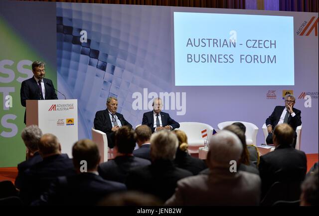 Austrian President Alexander Van der Bellen (center) attends the Austrian-Czech Business Forum in Prague, Czech - Stock-Bilder
