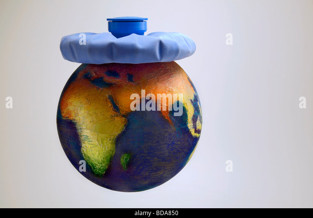 Still shot of a world globe with an ice pack on Asia - Stock Image