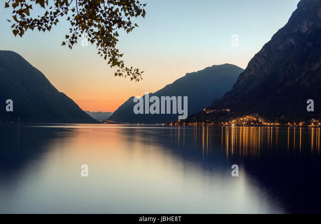 Italian Lakes - Lake Lugano at Porlezza in northern Italy at dusk. - Stock Image