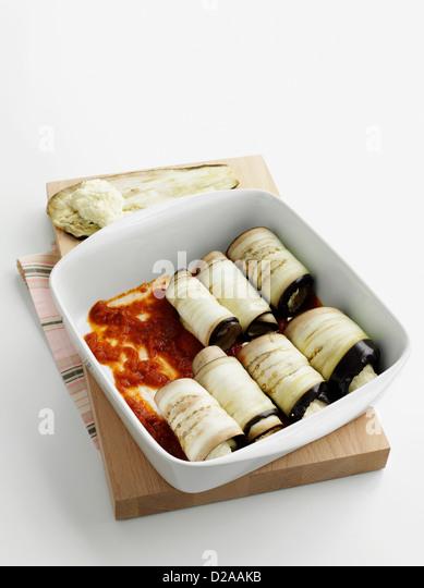 Dish of eggplant canneloni - Stock Image