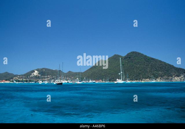 St Maarten Scenic Coastline Mountains and Caribbean Sea - Stock Image