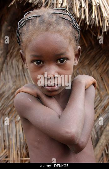 Ghana Village Girl Of The Gonja Ethnic Group - Stock Image