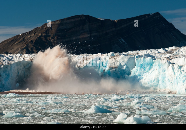 GLACIER CALVING ICE, SVALBARD, ARCTIC - Stock Image
