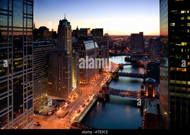 West Wacker Drive, Chicago, Illinois, USA - Stock Image