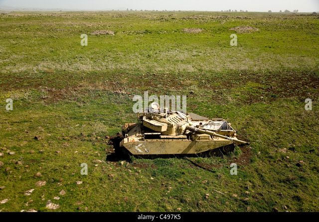 Aerial photograph of old battlefield in the Golan Heights - Stock Image