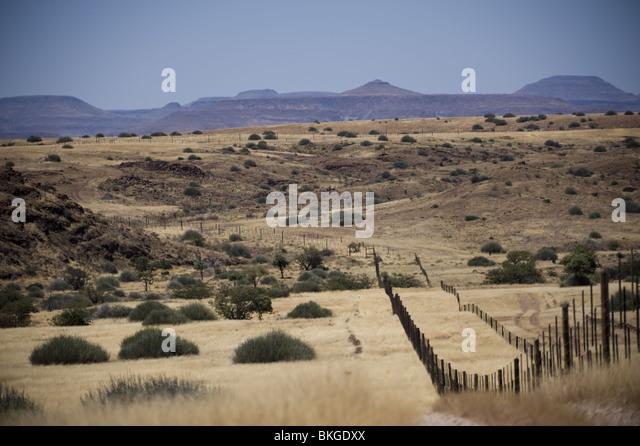 Vet fence that transects Namibia from the Skeleton Coast to Botswana. - Stock Image
