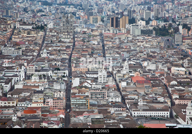 The town of Quito seen from the Panecillo looking north, Ecuador, South America - Stock Image