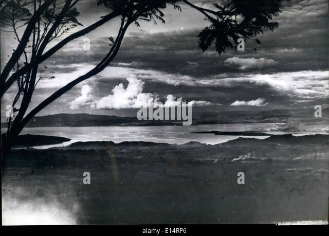 Apr. 18, 2012 - Lake Kivu, lonely spot in the Eastern Belgian Congo, North of Lake Tanganyika and West of Lake Victoria - Stock-Bilder
