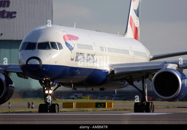 British Airways Boeing 757 taxiing for departure at Heathrow Airport, London, UK - Stock Image