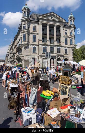 Flea Market Buerkliplatz, Buerkli Square, Zurich, Switzerland - Stock Image