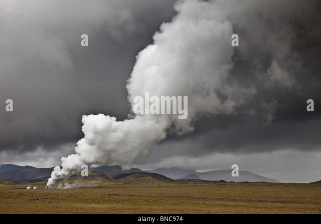 Geothermal hot springs steaming, South Coast, Iceland - Stock Image