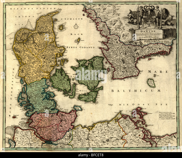 Old map of Denmark (18 centuries, Latin language). - Stock Image
